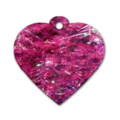 Festive Hot Pink Glitter Merry Christmas Tree  Dog Tag Heart (one Side) by yoursparklingshop