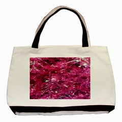 Festive Hot Pink Glitter Merry Christmas Tree  Basic Tote Bag (two Sides) by yoursparklingshop