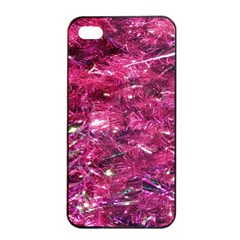 Festive Hot Pink Glitter Merry Christmas Tree  Apple Iphone 4/4s Seamless Case (black)