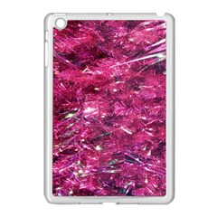 Festive Hot Pink Glitter Merry Christmas Tree  Apple Ipad Mini Case (white) by yoursparklingshop