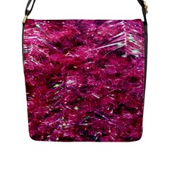 Festive Hot Pink Glitter Merry Christmas Tree  Flap Messenger Bag (l)  by yoursparklingshop