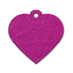 Metallic Pink Glitter Texture Dog Tag Heart (two Sides) by yoursparklingshop