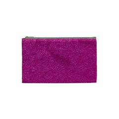 Metallic Pink Glitter Texture Cosmetic Bag (small)  by yoursparklingshop
