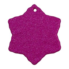 Metallic Pink Glitter Texture Snowflake Ornament (2 Side) by yoursparklingshop