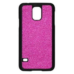 Metallic Pink Glitter Texture Samsung Galaxy S5 Case (black) by yoursparklingshop