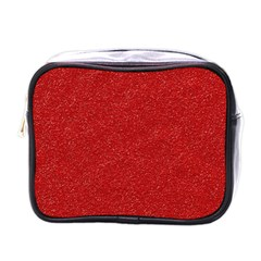 Festive Red Glitter Texture Mini Toiletries Bags by yoursparklingshop
