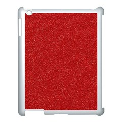 Festive Red Glitter Texture Apple Ipad 3/4 Case (white) by yoursparklingshop