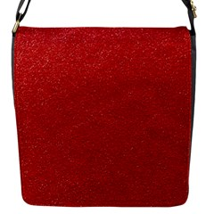 Festive Red Glitter Texture Flap Messenger Bag (s) by yoursparklingshop