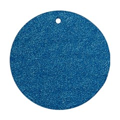 Festive Blue Glitter Texture Round Ornament (two Sides)  by yoursparklingshop