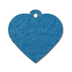 Festive Blue Glitter Texture Dog Tag Heart (one Side) by yoursparklingshop