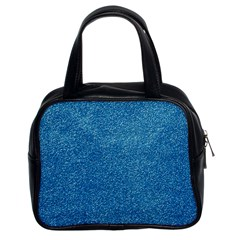 Festive Blue Glitter Texture Classic Handbags (2 Sides) by yoursparklingshop