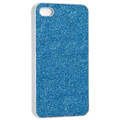Festive Blue Glitter Texture Apple Iphone 4/4s Seamless Case (white) by yoursparklingshop