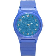 Festive Blue Glitter Texture Round Plastic Sport Watch (s) by yoursparklingshop