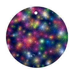 Starlight Shiny Glitter Stars Round Ornament (two Sides)  by yoursparklingshop