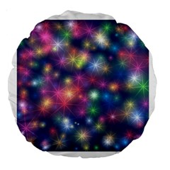 Starlight Shiny Glitter Stars Large 18  Premium Round Cushions by yoursparklingshop