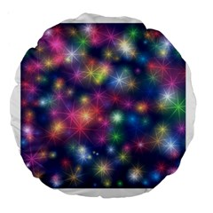 Starlight Shiny Glitter Stars Large 18  Premium Flano Round Cushions by yoursparklingshop
