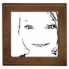 Portrait Black And White Girl Framed Tiles by yoursparklingshop