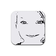 Portrait Black And White Girl Rubber Coaster (square)  by yoursparklingshop