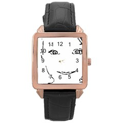 Portrait Black And White Girl Rose Gold Leather Watch  by yoursparklingshop