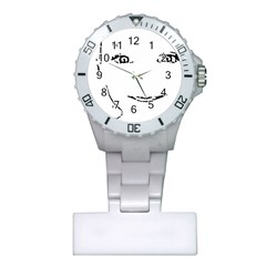 Portrait Black And White Girl Plastic Nurses Watch by yoursparklingshop