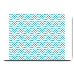 Blue White Chevron Large Doormat