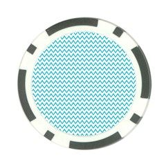 Blue White Chevron Poker Chip Card Guards