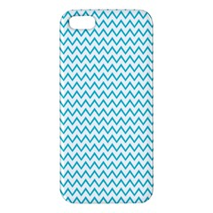 Blue White Chevron Apple Iphone 5 Premium Hardshell Case by yoursparklingshop