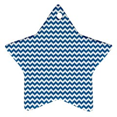 Dark Blue White Chevron  Ornament (star)  by yoursparklingshop