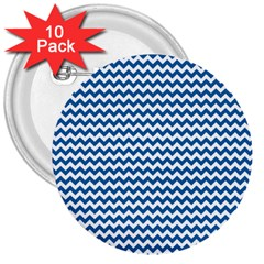 Dark Blue White Chevron  3  Buttons (10 Pack)  by yoursparklingshop
