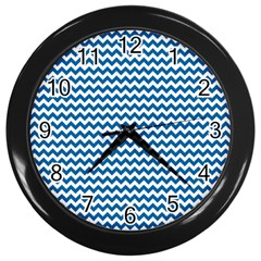 Dark Blue White Chevron  Wall Clocks (black) by yoursparklingshop