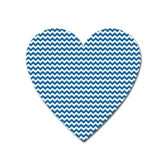 Dark Blue White Chevron  Heart Magnet by yoursparklingshop