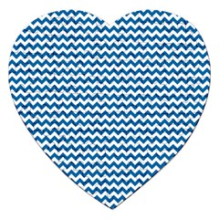 Dark Blue White Chevron  Jigsaw Puzzle (heart) by yoursparklingshop