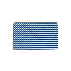 Dark Blue White Chevron  Cosmetic Bag (small)  by yoursparklingshop