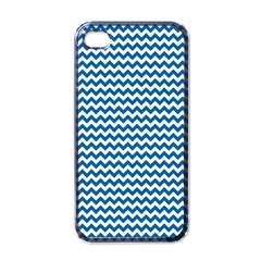 Dark Blue White Chevron  Apple Iphone 4 Case (black) by yoursparklingshop