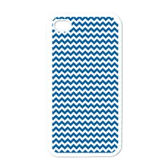 Dark Blue White Chevron  Apple Iphone 4 Case (white) by yoursparklingshop