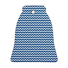 Dark Blue White Chevron  Bell Ornament (2 Sides) by yoursparklingshop