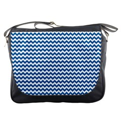 Dark Blue White Chevron  Messenger Bags by yoursparklingshop