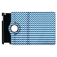 Dark Blue White Chevron  Apple Ipad 2 Flip 360 Case by yoursparklingshop