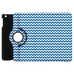 Dark Blue White Chevron  Apple Ipad Mini Flip 360 Case by yoursparklingshop
