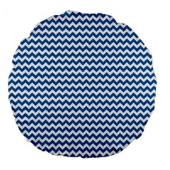 Dark Blue White Chevron  Large 18  Premium Round Cushions by yoursparklingshop