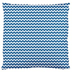 Dark Blue White Chevron  Standard Flano Cushion Case (one Side) by yoursparklingshop