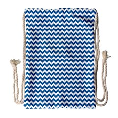 Dark Blue White Chevron  Drawstring Bag (large) by yoursparklingshop