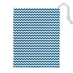Dark Blue White Chevron  Drawstring Pouches (xxl) by yoursparklingshop