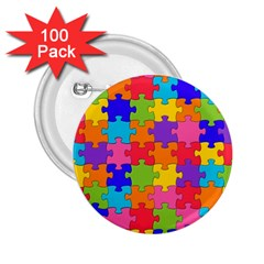 Funny Colorful Puzzle Pieces 2 25  Buttons (100 Pack)