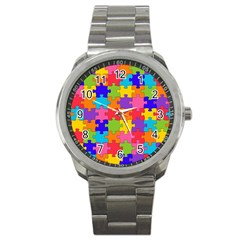 Funny Colorful Puzzle Pieces Sport Metal Watch by yoursparklingshop
