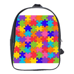 Funny Colorful Puzzle Pieces School Bags(large)  by yoursparklingshop