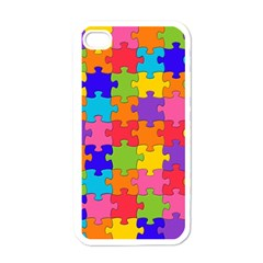 Funny Colorful Puzzle Pieces Apple Iphone 4 Case (white) by yoursparklingshop