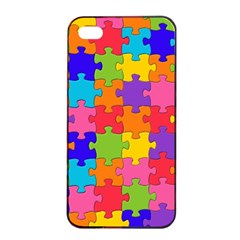 Funny Colorful Puzzle Pieces Apple Iphone 4/4s Seamless Case (black)
