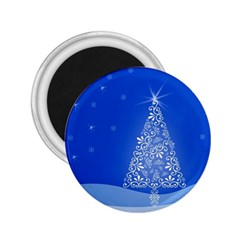 Blue White Christmas Tree 2 25  Magnets by yoursparklingshop