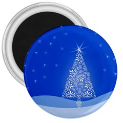Blue White Christmas Tree 3  Magnets by yoursparklingshop